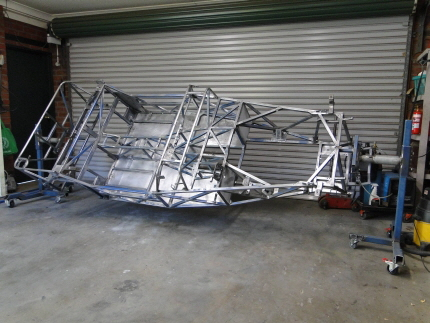 Bare Locost chassis awaiting paint
