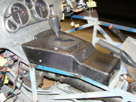 The completed carbon fibre centre console
